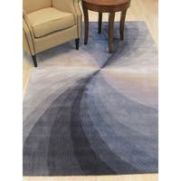 Hand-tufted Wool Blue Contemporary Abstract Swirl Rug - 5' x 8'