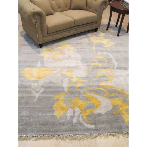 Hand-knotted Wool & Viscose Gray Contemporary Abstract Art Rug - 9' x 12'