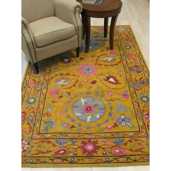 """Hand-tufted Wool Yellow Traditional Floral Suzani Rug - 8'9"""" x 11'9"""""""