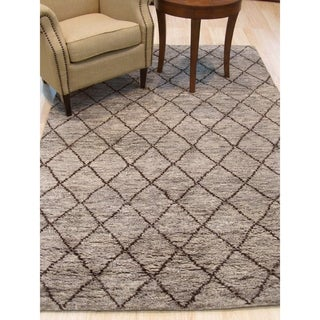 Hand-knotted Wool Gray Transitional Trellis Moroccan Rug - 8' x 10'