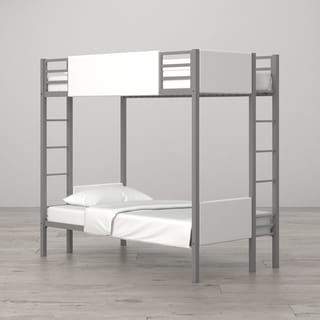 Little Seeds Monarch Hill Raven White Metal/Faux-leather Twin-over twin Bunk Bed