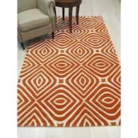 "Hand-tufted Wool Orange Transitional Geometric Marla Rug - 8'9"" x 11'9"""
