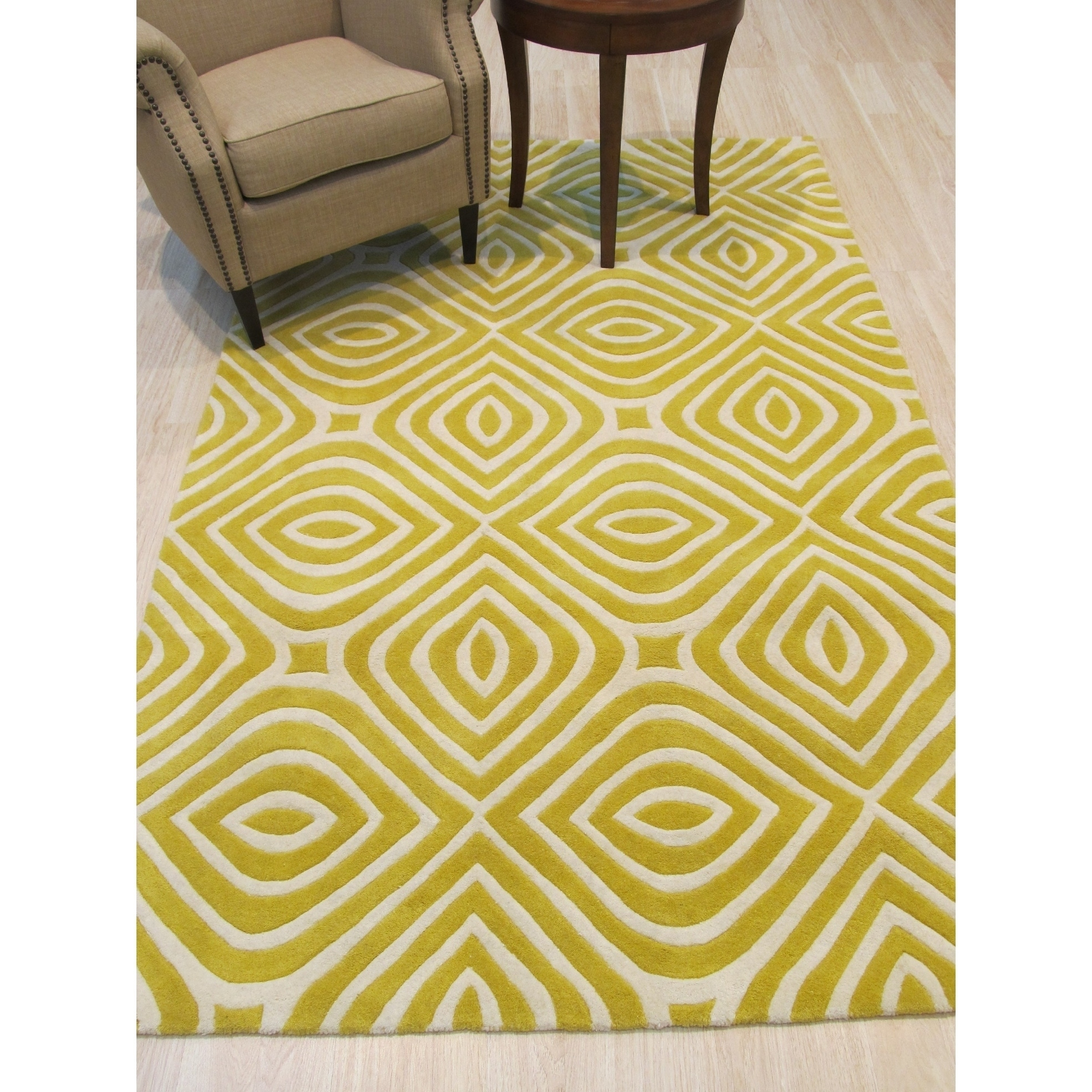 Eorc Marla Yellow Wool Hand Tufted Transitional Geometric Rug 5 X 8 Overstock 15369357