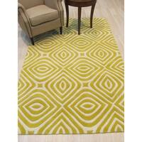 Hand-tufted Wool Yellow Transitional Geometric Marla Rug - 8'9 x 11'9""