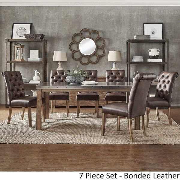 Cassidy Stainless Steel Top Rectangle Dining Table Set By INSPIRE Q Artisan    Free Shipping Today   Overstock.com   23494333 Part 43