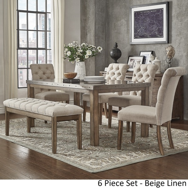 Cassidy Stainless Steel Top Rectangle Dining Table Set By INSPIRE Q Artisan    Free Shipping Today   Overstock.com   23494333
