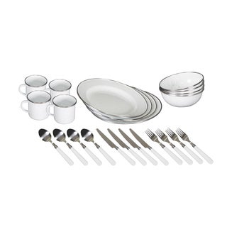 Stansport Enamel Camping Tableware Set - 24 Piece - White