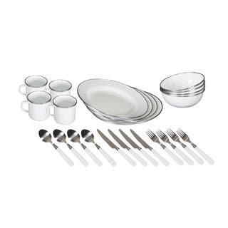 Stansport Enamel Camping Tableware Set - 24 Piece - White|https://ak1.ostkcdn.com/images/products/17239508/P23494356.jpg?impolicy=medium