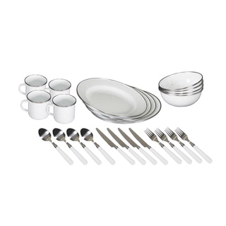 Link to Stansport Enamel Camping Tableware Set - 24 Piece in White Similar Items in Dinnerware