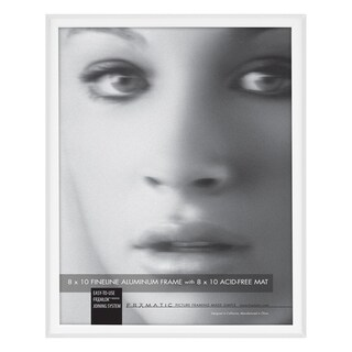 MCS Industries Fineline White Aluminum/Glass 8-inch x 10-inch Picture Frame and Mat