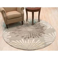 "Hand-tufted Wool & Viscose Silver Transitional Floral Sunflower Rug - 7'9"" x 7'9"""
