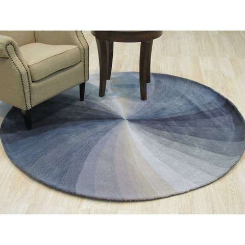 Hand-tufted Wool Blue Contemporary Abstract Swirl Rug - 4' Round