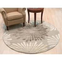 Hand-tufted Wool & Viscose Silver Transitional Floral Sunflower Rug - 6' x 6'