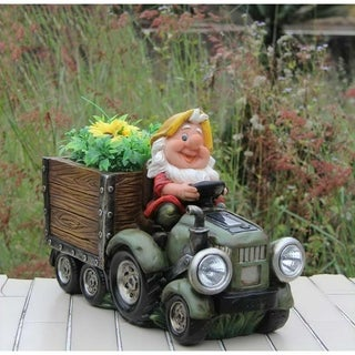 SINTECHNO SNF15177-2 Solar Powered HeadLight Of Gnome Truck Sculpture with Flower Pot