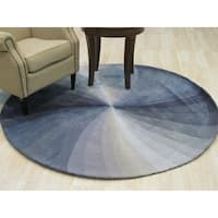 """Hand-tufted Wool Blue Contemporary Abstract Swirl Rug (7'9 Round) - 7'9"""" x 7'9"""""""