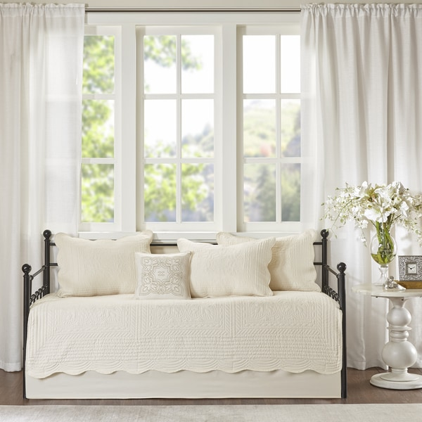Madison Park Venice Cream 6 Pieces Quilted Daybed Cover Set with Scalloped Edges. Opens flyout.