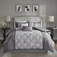 Madison Park Chrystal Silver 7-piece Solid Pieced Embroidered Comforter Set