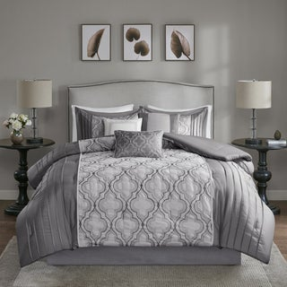 Madison Park Chrystal Silver 7-piece Solid Pieced Embroidered Comforter Set (3 options available)