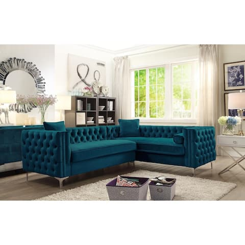 Chic Home Susan Teal Elegant Velvet Deeply Tufted Right-facing Sectional Sofa