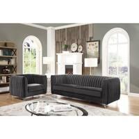 Chic Home Priscilla Velvet Modern Contemporary Plush Cushion Seat with Round Acrylic Feet Sofa