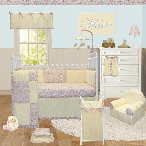 Cotton Tale Designs Marie Yellow Paisey Cotton 8-piece Crib Bedding Set