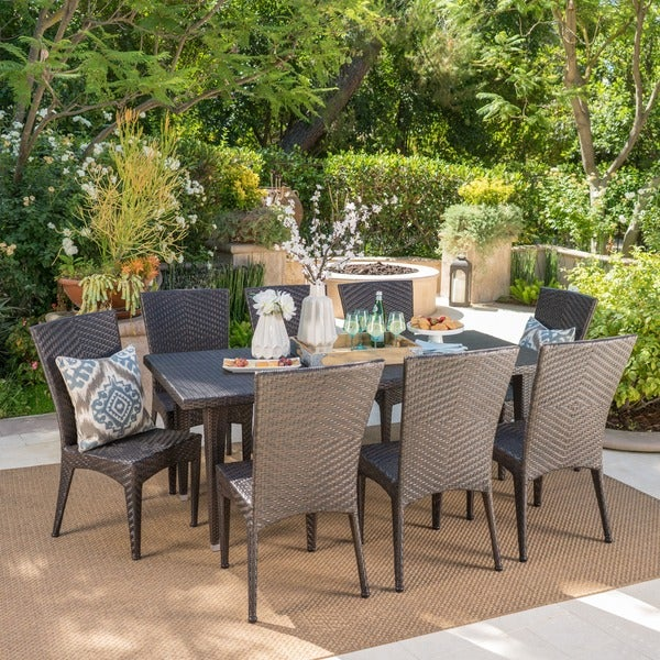Moorea Outdoor 9-piece Rectangular Wicker Dining Set by Christopher Knight Home