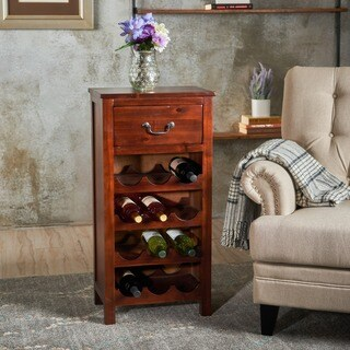Eirinn Acacia Wood Wine Rack Cabinet by Christopher Knight Home