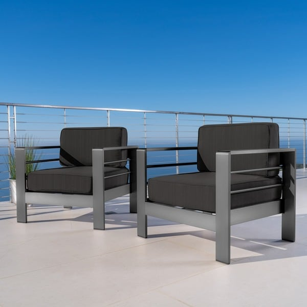 Cape Coral Outdoor Aluminum Club Chair with Cushions (Set of 2) by Christopher Knight Home