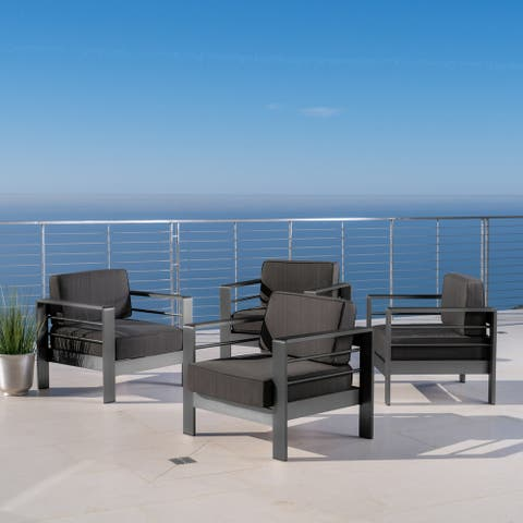 Cape Coral Outdoor Aluminum Club Chair with Cushions (Set of 4) by Christopher Knight Home