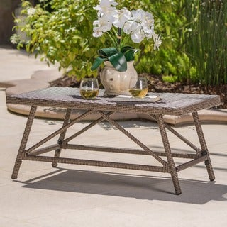 Hazel Outdoor Wicker Coffee Table by Christopher Knight Home