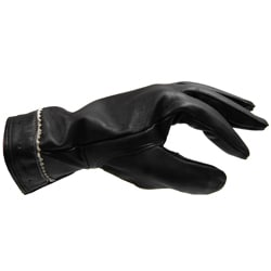 Adi Designs Zig-Zag Wrist Pattern Lambskin Leather Black Gloves - Thumbnail 2