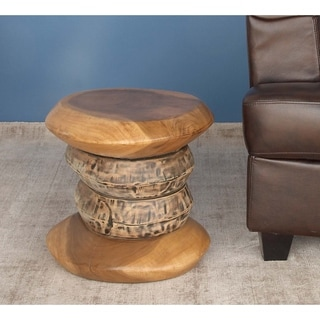 Studio 350 Teak Foot Stool 16 inches wide, 16 inches high