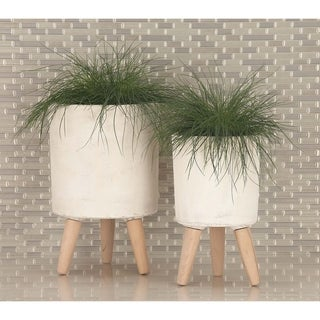 Studio 350 Fiber Wood Planter Set of 3, 12 inches, 15 inches, 17 inches high
