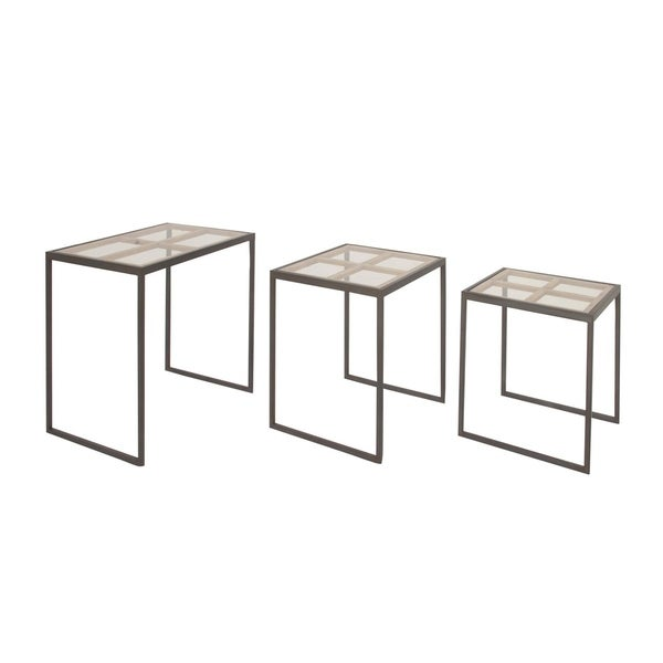 Studio 350 Metal Glass Accent Table Set of 3, 19 inches ,20 inches ,23 inches high