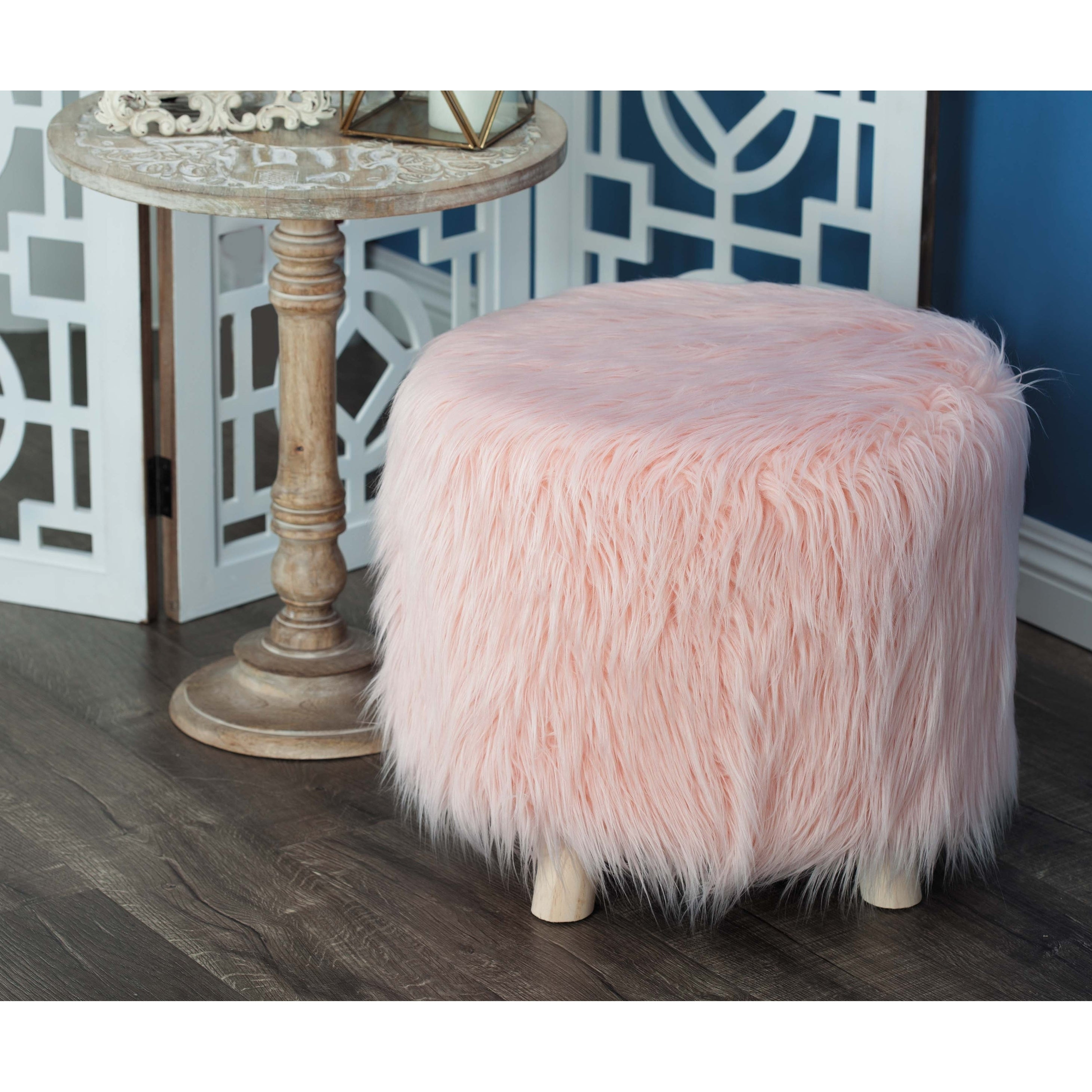 Remarkable Contemporary 16 X 19 Inch Wood And Faux Fur Footstool By Studio 350 Cjindustries Chair Design For Home Cjindustriesco