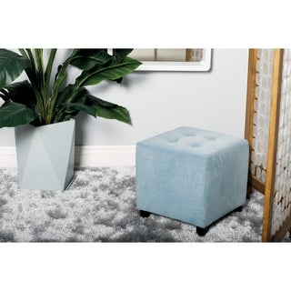 Studio 350 Wood Faux Fur Foot Stool 19 inches wide, 16 inches high