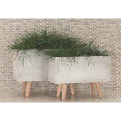 Set of 2 Modern Rectangular Light Gray Planters by Studio 350