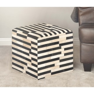 Studio 350 Leather Wood Square Stool 16 inches wide, 16 inches high