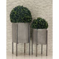 Set of 2 Industrial Cylindrical Dark Gray Planters by Studio 350