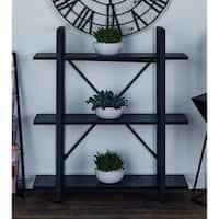 Modern 40 X 36 Inch Black Iron and Wood Three-Tier Shelf by Studio 350