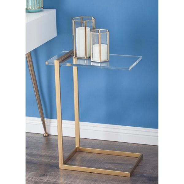 Modern 24 x 18 Inch Iron and Acrylic Accent Table by Studio 350. Opens flyout.