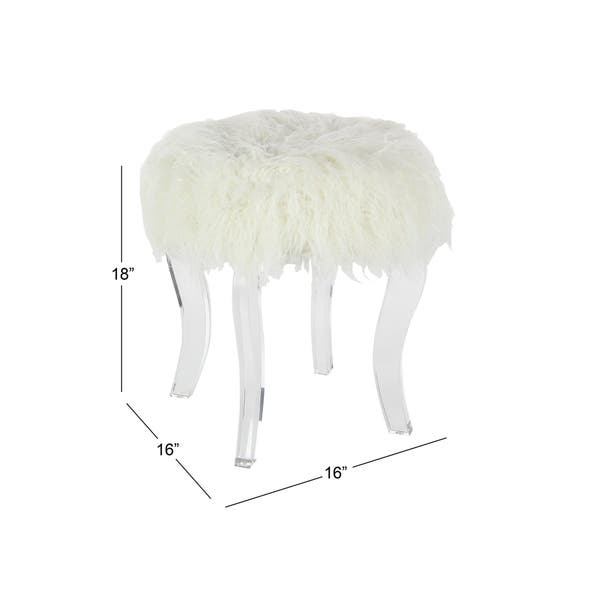 Groovy Shop Modern 18 X 16 Inch Wood And Acrylic White Fur Pabps2019 Chair Design Images Pabps2019Com