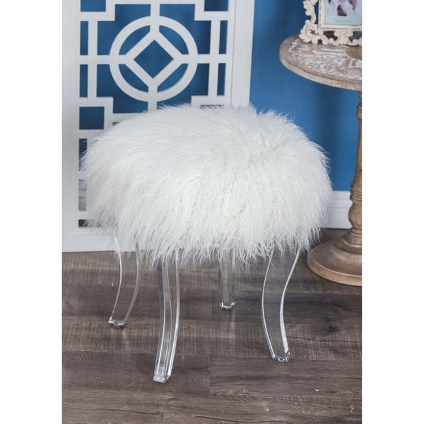 Admirable Shop Modern 18 X 16 Inch Wood And Acrylic White Fur Pabps2019 Chair Design Images Pabps2019Com