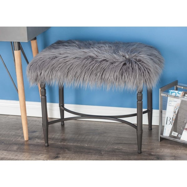 Shop Contemporary 20 X 26 Inch Gray Iron And Faux Fur