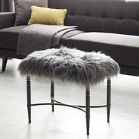 Contemporary 20 x 26 Inch Gray Iron and Faux Fur Stool by Studio 350