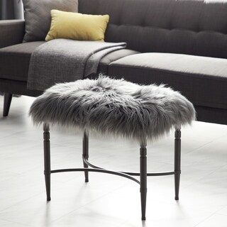 Studio 350 Metal Faux Fur Stool 26 inches wide, 20 inches high