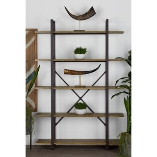 48 x 70 Contemporary 5-Tier Gray Metal and Wood Bookshelf by Studio 350