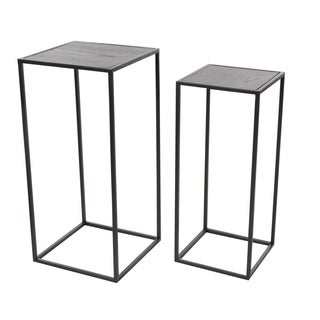 Studio 350 Metal Wood Pedestal Set of 2, 25 inches, 27 inches high
