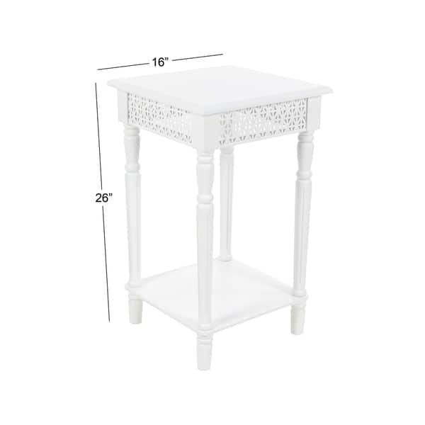 Studio 350 Wood White Side Table 16 inches wide, 26 inches high