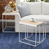 Studio 350 Metal Wood Nesting Table Set of 3, 18 inches ,21 inches ,24 inches wide